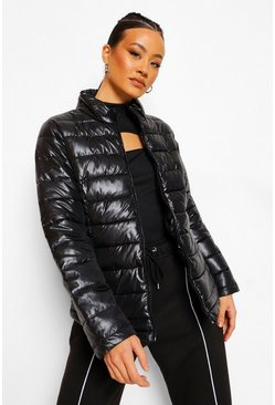 Black Funnel Neck Fitted Puffer Jacket