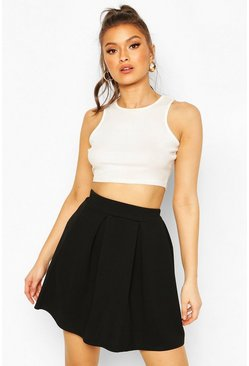 Black Jersey Crepe Pleated Tennis Skirt