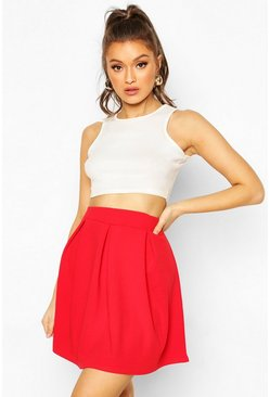 Red Jersey Crepe Pleated Tennis Skirt