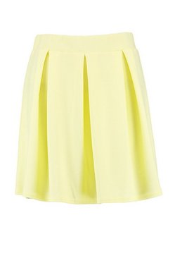 Lemon Jersey Crepe Pleated Tennis Skirt