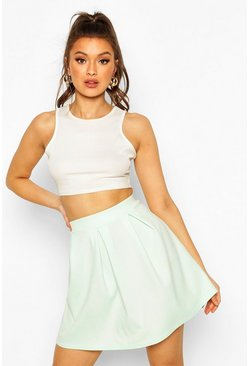 Mint Jersey Crepe Pleated Tennis Skirt
