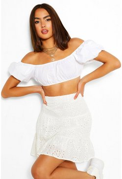 Ivory white Tiered Broderie Skater Skirt
