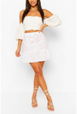 Ivory white Drop Hem Cotton Poplin Mini Skirt