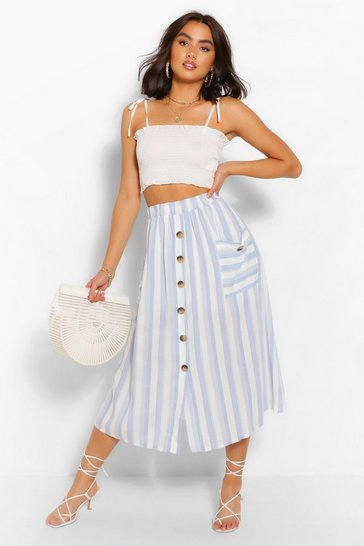 Blue Striped Button Front Midi Skirt