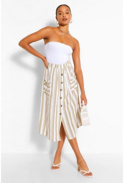 Taupe Tonal Stripe Pocket Front Midi Skirt
