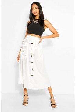 Ivory white Button Through Tie Waist Midaxi Skirt