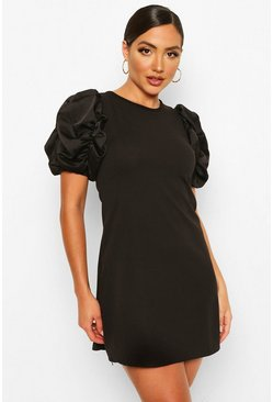 Black Ruched Puff Satin Sleeve Shift Dress