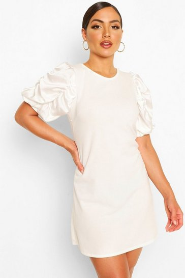 White Ruched Puff Satin Sleeve Shift Dress