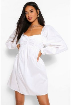 White Puff Sleeve Broderie Baby Doll Dress