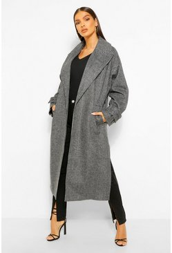 Black Dogtooth Belted Trench Coat