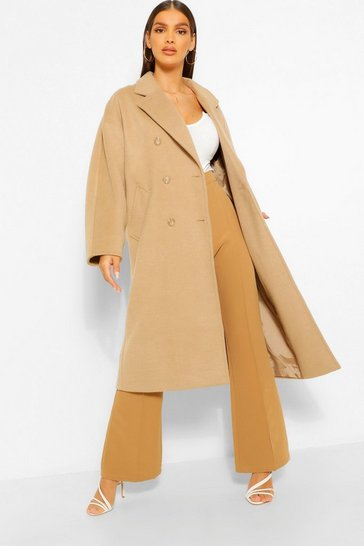 Camel beige Textured Twill Wool Look Double Breasted Coat