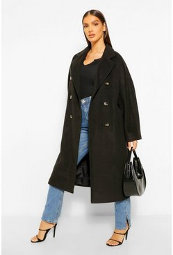 Black Textured Twill Wool Look Double Breasted Coat