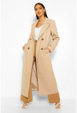 Camel beige Brushed Wool Look Double Breasted Coat