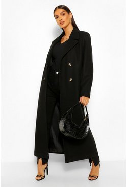Black Brushed Wool Look Double Breasted Coat