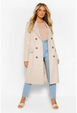 Stone beige Double Breasted Tonal Check Wool Look Coat