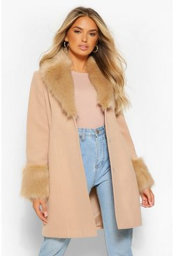 Camel Faux Fur Collar & Cuff Wool Look Coat