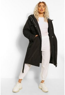 Black Oversized Longline Belted Parka