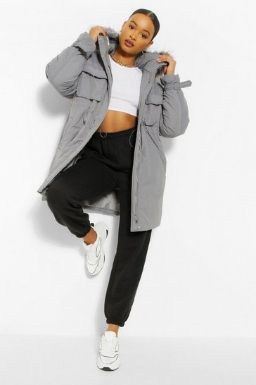 Grey Oversized Faux Fur Trim Parka