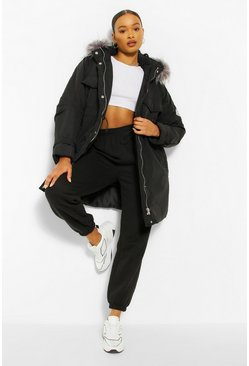 Black Oversized Faux Fur Trim Parka