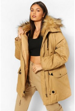 Gold metallic Zip Detail Hood Oversized Twill Parka