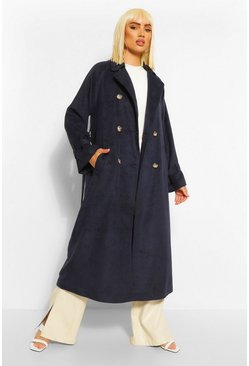 Navy Belted Wool Look Trench Coat