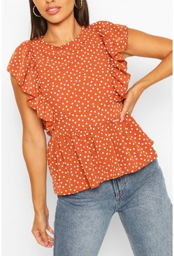 Terracotta orange Woven Polka Dot Ruffle Open Back Peplum