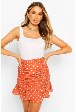 Woven Polka Dot Ruched Mini Skirt , Rust