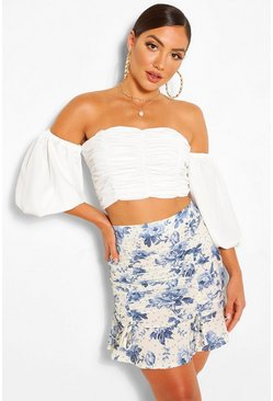 Cream white Woven and Spot Floral Print Ruched Mini Skirt