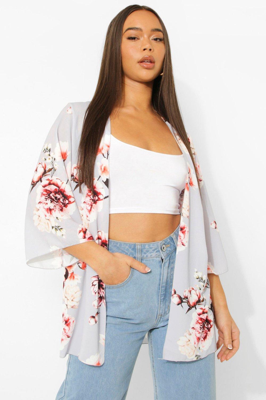 COATS & JACKETS Floral Print Wide Sleeve Kimono