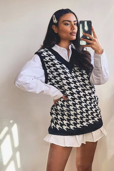 Black Dogtooth Check Sweater Vest