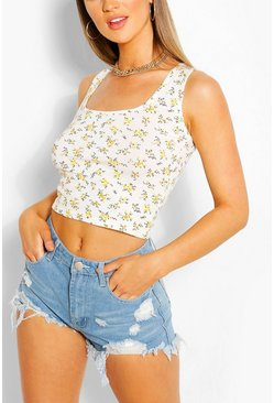Cream Ditsy Print Square Neck Crop