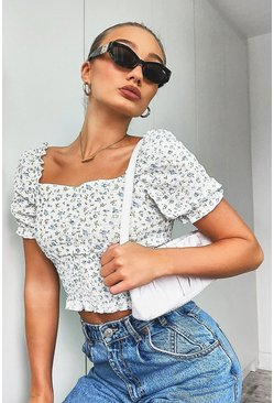 Ivory white Ditsy Print Lace Puff Sleeve Top