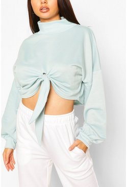Duck egg blue Recycled High Neck Knot Front Sweat