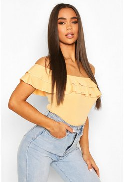 Apricot nude Off The Shoulder Ruffle Body