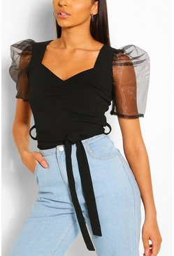 Black Organza Sleeve Sweetheart Belted Top