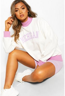 Cream Michigan Slogan Contrast Sweat