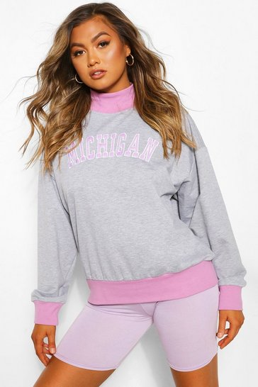 Grey marl grey Grey Michigan Slogan Contrast Sweat