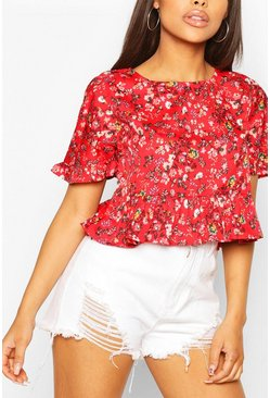 Red Ditsy Floral Ruffle Sleeve Smock Top