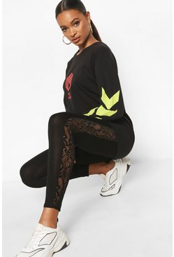 Black Lace Panel Legging