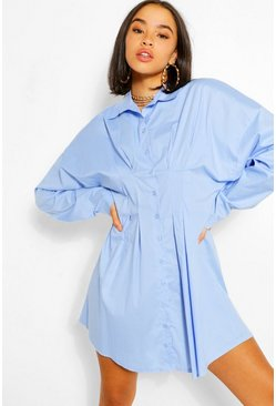 Pastel blue blue Cotton Pleated Waist Shirt Dress