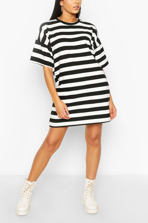 Stripe Oversized T-shirt Dress   boohoo