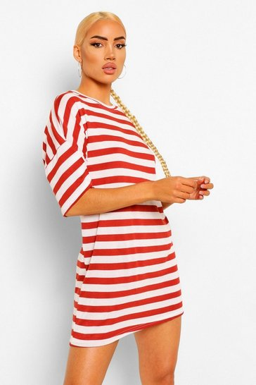 Wine red Stripe Oversized T-shirt Dress