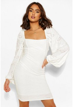 White Jersey Broderie Balloon Sleeve Dress