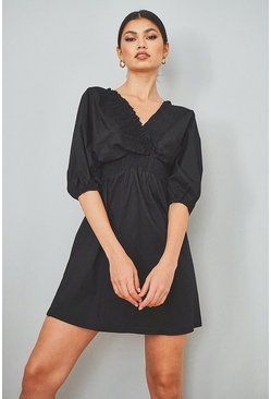 Cotton Shirred Wrap Skater Dress, Black Чёрный