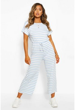 Blue Striped Loopback Wide Leg Jumpsuit
