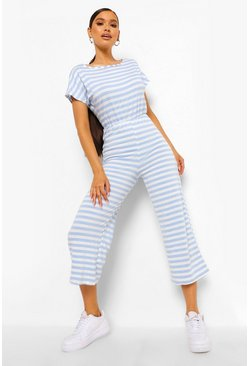 Multi Striped Loopback Wide Leg Jumpsuit