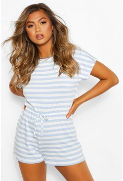 Striped Loopback Tie Waist Playsuit, Blue Синий