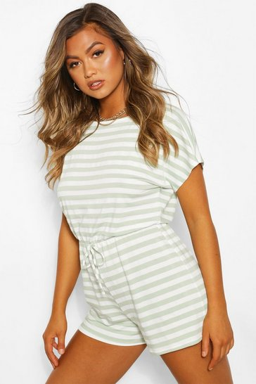 Sage green Striped Loopback Tie Waist Playsuit