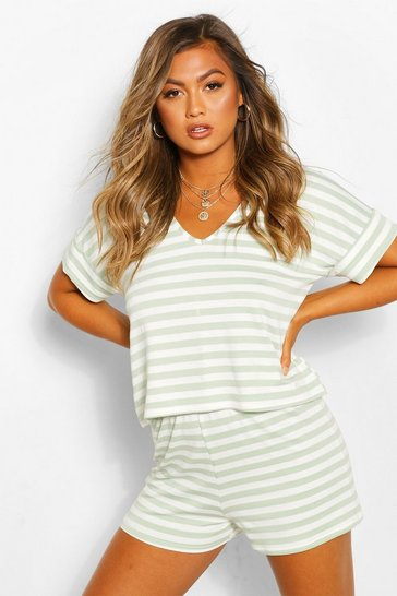 Sage green Green Striped Loopback Slouch Top With Deep Cuffs
