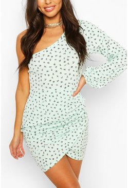 Mint green Ditsy Floral Rib One Shoulder Mini Dress